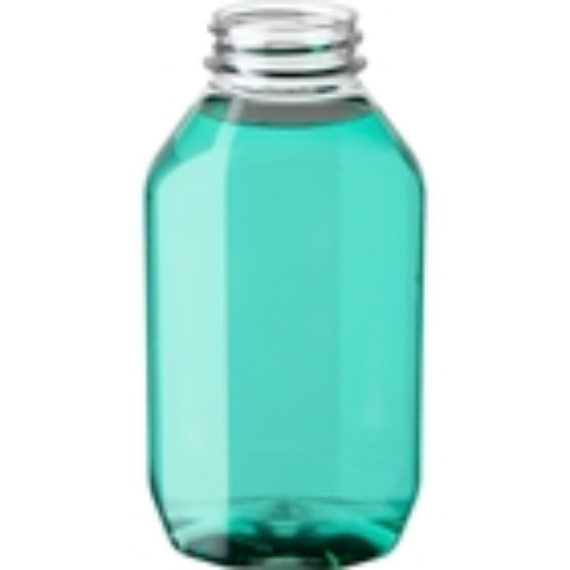8 oz. Clear PET Plastic Ridge Oblong Bottle, 38mm 38-400