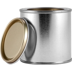 1/2 Pint Metal Paint Can with Lid, Gold Phenolic Lined