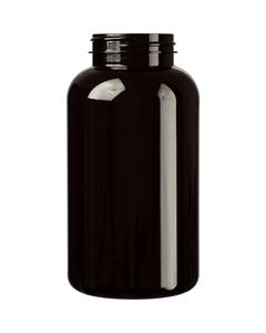 21 oz. (625 cc) Dark Amber PET Plastic Packer Bottle, 53mm 53-400
