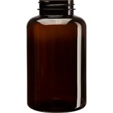 13.5 oz. (400 cc) Amber PET Plastic Packer Bottle, 45mm 45-400