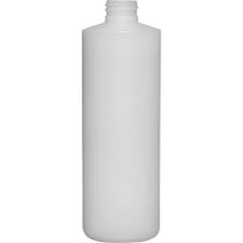 16 oz. Natural HDPE Plastic Cylinder Bottle, 28mm 28-410, 34 Grams