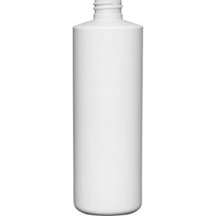 16 oz. White HDPE Plastic Cylinder Bottle, 28mm 28-410, 34 Grams