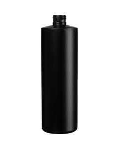 16 oz. Black HDPE Plastic Cylinder Bottle, 24mm 24-410, 31 Grams