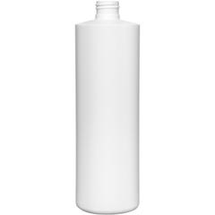 16 oz. White HDPE Plastic Cylinder Bottle, 24mm 24-410
