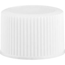 18mm 18-410 White Ribbed (Matte Top) Plastic Cap w/Foam Liner (3-ply)