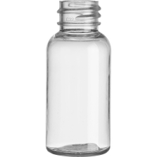 1 oz. (30 ml) Clear PET Plastic Boston Round  Bottle, 20mm 20-410