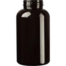25 oz. (750 cc) Dark Amber PET Plastic Packer Bottle, 53mm 53-400