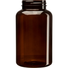 16 oz. (500 cc) Amber PET Plastic Packer Bottle, 53mm 53-400
