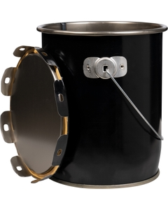 1 Gallon Black Steel Pail & Cover, UN Rated, May Have Rust