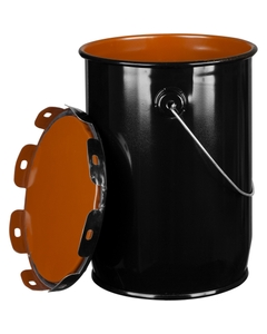 1 Gallon Black Steel Pail & Cover, UN Rated, Pigmented Phenolic Lining
