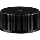 20mm 20-400 Black Ribbed (Matte Top) Plastic Cap, Unlined