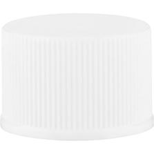 20mm 20-410 White Ribbed (Matte Top) Plastic Cap w/Foam Liner (3-ply)
