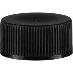 20mm 20-400 Black Ribbed (Matte Top) Plastic Cap w/Foam Liner