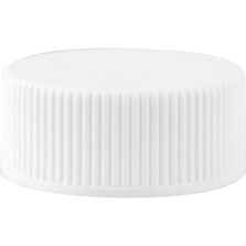 22mm 22-400 White Ribbed (Matte Top) Plastic Cap, Unlined