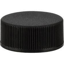24mm 24-400 Black Ribbed (Matte Top) Plastic Cap w/Foam Liner (3-ply)