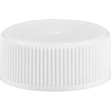 24mm 24-400 White Ribbed (Matte Top) Plastic Cap w/Foam Liner (3-ply)