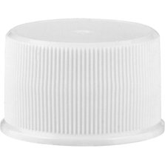 24mm 24-410 White Ribbed (Matte Top) Plastic Cap w/Foam Liner (3-ply)