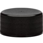 24mm 24-414 Black Ribbed (Matte Top) Plastic Cap w/Foam Liner (3-ply)