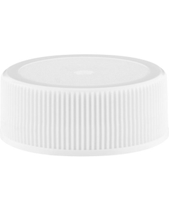 28mm 28-400 White Ribbed (Matte Top) Plastic Cap w/Foam Liner (3-ply)