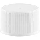 28mm 28-410 White Ribbed (Matte Top) Plastic Cap w/F217 & Pressure Sensitive Liner