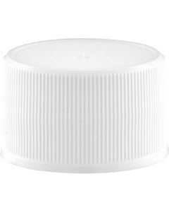 28mm 28-410 White Ribbed (Matte Top) Plastic Cap w/Foam Liner (3-ply)