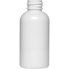 2 oz. White PET Plastic Boston Round Bottle, 20mm 20-410