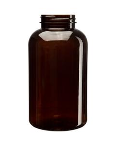 25 oz. (750 cc) Amber PET Plastic Packer Bottle, 53mm 53-400