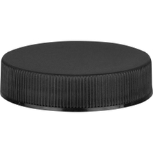 45mm 45-400 Black Ribbed (Matte Top) Plastic Cap w/HIS Liner for HDPE