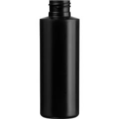 4 oz. Black HDPE Plastic Cylinder Bottle, 24mm 24-410