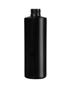 8 oz. Black HDPE Plastic Cylinder Bottle, 24mm 24-410, 22 Grams