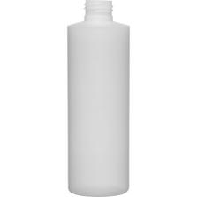 8 oz. Fluorinated Natural HDPE Plastic Cylinder Bottle, 24mm 24-410