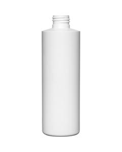 8 oz. White HDPE Plastic Cylinder Bottle, 24mm 24-410, Unflamed