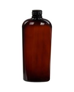 8 oz. Amber PET Plastic Oval Bottle, 24mm 24-410