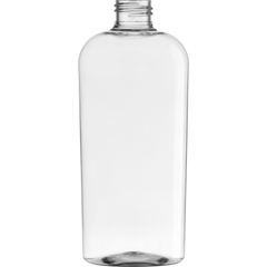 8 oz. Clear PET Plastic Oval Bottle, 24mm 24-410, 25.5 Grams