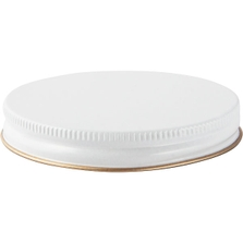89mm 89-400 White/Gold Metal Cap with Plastisol Liner