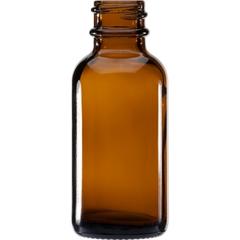 1 oz. Amber Boston Round Glass Bottle, 20mm 20-400