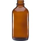 4 oz. Amber Boston Round Glass Bottle, 24mm 24-400
