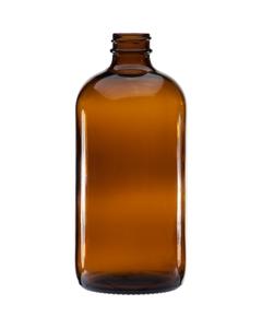16 oz. Amber Boston Round Glass Bottle, 28mm 28-400