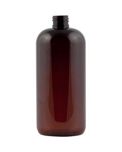 16 oz. Amber Boston Round PET Bottle, 24mm 24-410