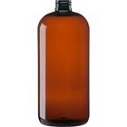 32 oz. Light Amber PET Plastic Boston Round  Bottle, 28mm 28-410