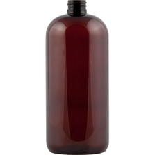 32 oz. Dark Amber PET Plastic Boston Round  Bottle, 28mm 28-410