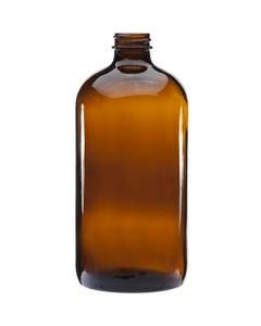 32 oz. Amber Boston Round Glass Bottle, 33mm 33-400