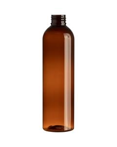 8 oz. Dark Amber PET Plastic Bullet Round Bottle, 24mm 24-410, 25 Grams