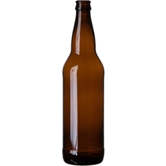 22 oz. (651 ml) Amber Glass Bomber Beer Bottles, Crown Pry-Off, 26-611, 12/cs