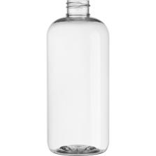 16 oz. Clear PET Plastic Boston Round  Bottle, 28mm 28-410