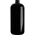 32 oz. Black PET Plastic Boston Round Bottle, 28mm 28-410