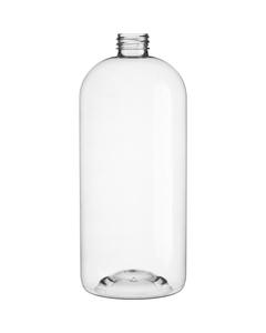 33.8 oz. (1 Liter) Clear PET Plastic Boston Round Bottle, 28mm 28-410, 41 Grams