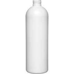 16 oz. White HDPE Plastic Bullet Bottle, 24mm 24-410