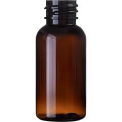 1 oz. Amber PET Plastic Boston Round Bottle, 20mm 20-410