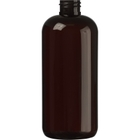 16 oz. Amber PET Plastic Boston Round Bottle, 28mm 28-410